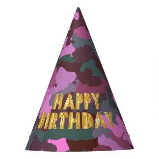 Gorro De Fiesta Feliz cumpleaños en Camo rosado