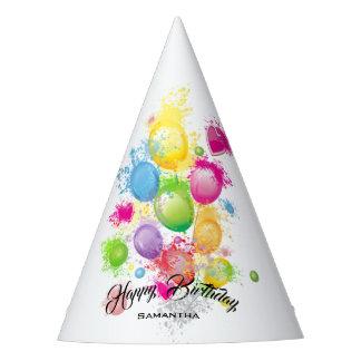 Gorro De Fiesta Globos del cumpleaños del chapoteo del color
