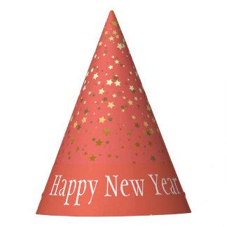 Gorro De Fiesta Gorra-Coral de oro menudo de la Feliz Año Nuevo de
