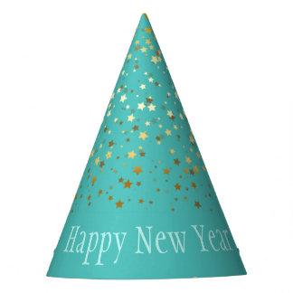Gorro De Fiesta Gorra-Turquesa de oro menuda de la Feliz Año Nuevo