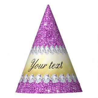 Gorro De Fiesta Hoja y diamantes púrpuras de oro de las