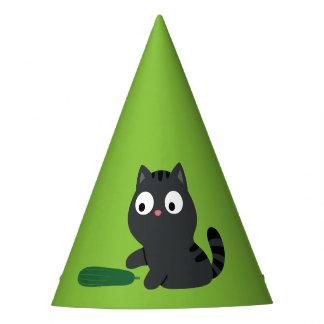 Gorro De Fiesta Ilustracion del gatito y del pepino
