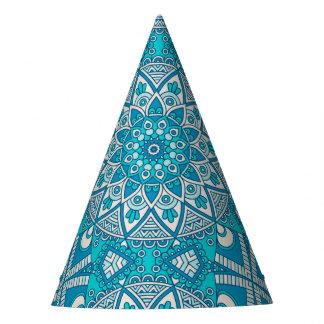 Gorro De Fiesta Modelo vitral de Boho de la turquesa floral