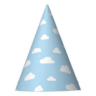 Gorro De Fiesta Nubes blancas del dibujo animado en modelo azul