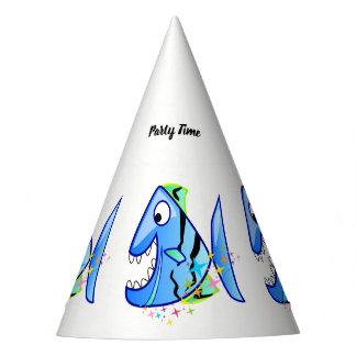 Gorro De Fiesta Piraña tropical azul con las estrellas