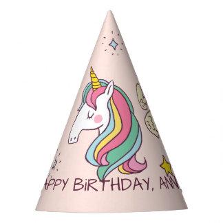 Gorro De Fiesta Unicornio lindo y estrellas del arco iris del