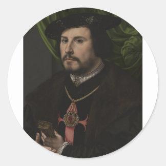 Gossaert - retrato de Francisco de los Cobos y MES Pegatina Redonda