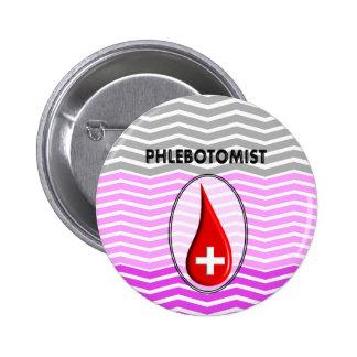 Gota de sangre rosada de Phlebotomist Chevron Chapa Redonda De 5 Cm