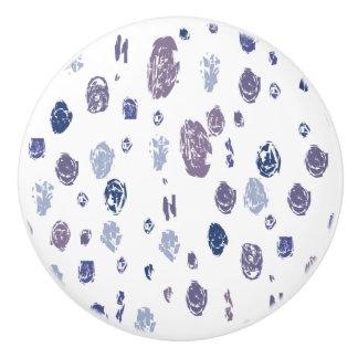 Gotas de agua abstractas azules y púrpuras pomo de cerámica