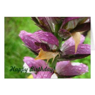 Gotas de agua en la tarjeta de cumpleaños violeta
