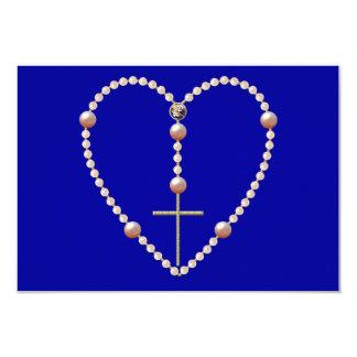 """""""Gotea"""" el rosario en forma de corazón Invitación 8,9 X 12,7 Cm"""