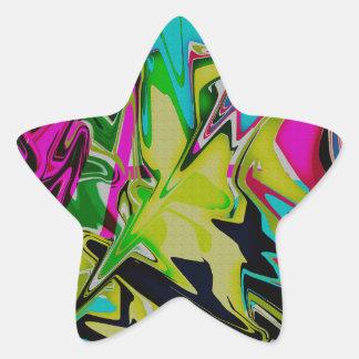 Goteo fundido abstracto oscuro del color pegatina en forma de estrella