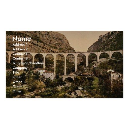 Gourdon, garganta del lobo, el puente, Grasse, fra Plantillas De Tarjetas De Visita