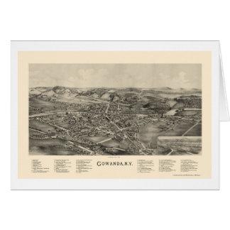 Gowanda, mapa panorámico de NY - 1892 Felicitacion