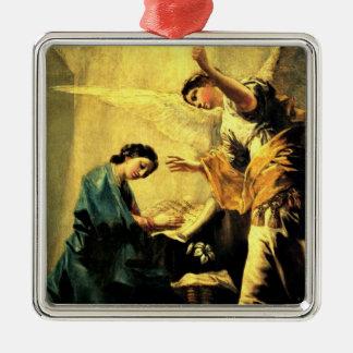 Goya: El anuncio, pintura religiosa famosa Adorno Cuadrado Plateado