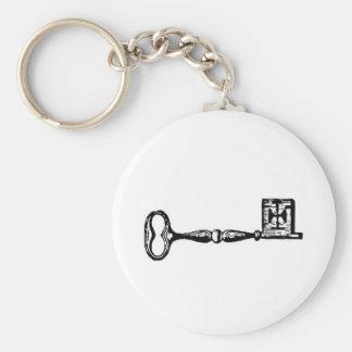 Grabado antiguo de la llave maestra llavero redondo tipo chapa