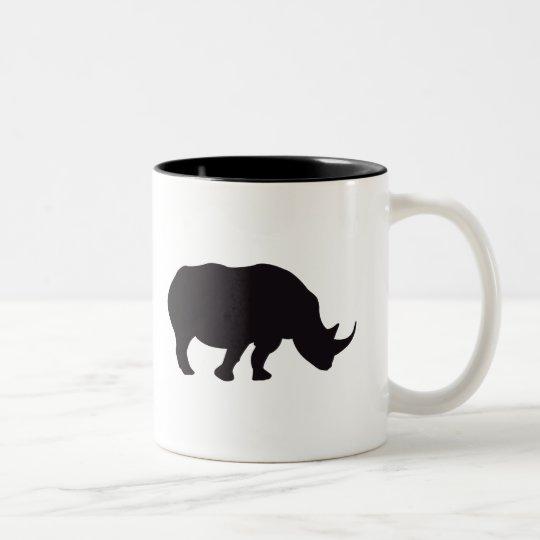 Grabado de madera del vintage del rinoceronte taza bicolor