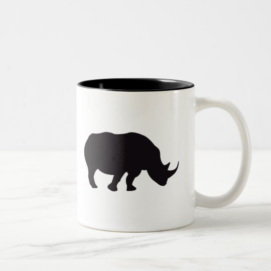 Grabado de madera del vintage del rinoceronte taza de café de dos colores