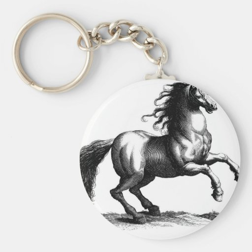 Grabado majestuoso del caballo del vintage llaveros personalizados