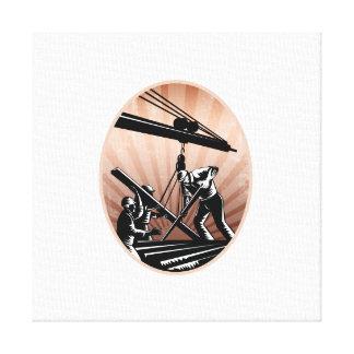 Grabar en madera de los trabajadores de construcci impresión en lienzo estirada