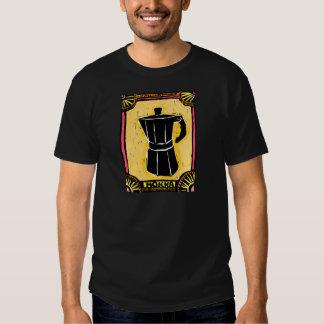 Grabar en madera del pote del café express de camiseta