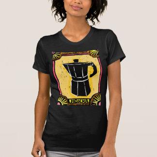 Grabar en madera del pote del café express de camisetas