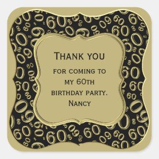 Gracias - 60.o negro del cumpleaños y fiesta del pegatina cuadrada