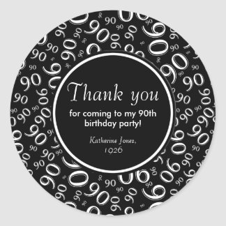 Gracias: 90.a fiesta de cumpleaños blanco y negro pegatina redonda