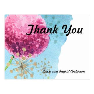 Gracias allium de la acuarela floral postal