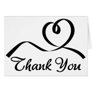Gracias amor blanco y negro del boda del corazón tarjeta pequeña