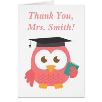 Gracias, aprecio del profesor, búho del profesor tarjeta de felicitación