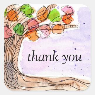 Gracias - árbol frondoso de la acuarela a mano de pegatina cuadrada