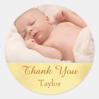 Gracias bebé de la foto pegatina redonda