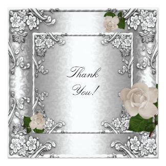 Gracias blanco de plata subió boda elegante invitación 13,3 cm x 13,3cm