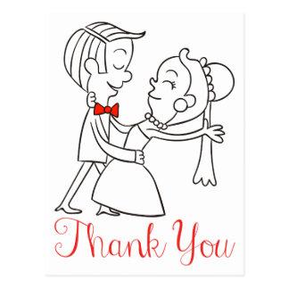 Gracias boda blanco y negro de novia y del novio postal