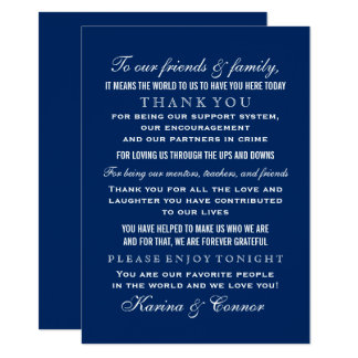 Gracias boda de los azules marinos de la tarjeta