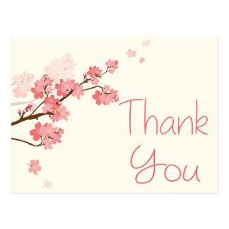 Gracias boda floral de la flor de cerezo rosada postal