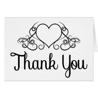 Gracias boda/negocio blancos y negros del corazón tarjeta pequeña