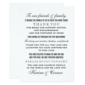 Gracias boda negro de la tarjeta el | del mensaje invitación 11,4 x 15,8 cm