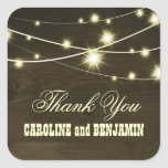 gracias boda rústico del país de las luces de made calcomanía cuadradas