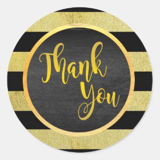Gracias brillo rayado negro del oro pegatina redonda