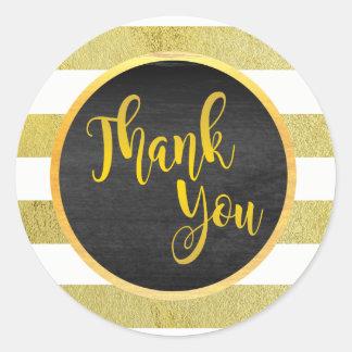 Gracias brillo rayado oro pegatina redonda