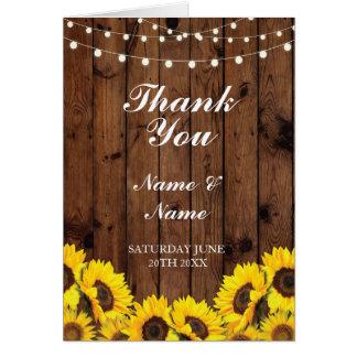 Gracias carda el boda de madera del girasol tarjeta de felicitación