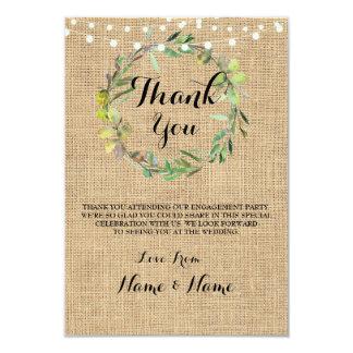 Gracias carda el boda rústico de la arpillera de invitación 8,9 x 12,7 cm