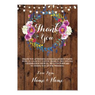 Gracias carda el boda rústico de madera de la invitación 8,9 x 12,7 cm