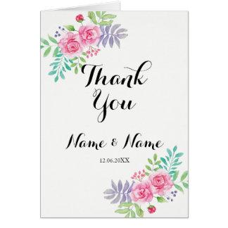 Gracias carda el Watercolour floral doblado boda Tarjeta De Felicitación