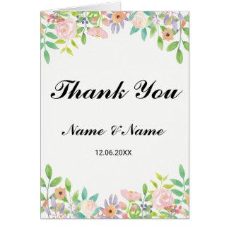 Gracias carda floral del Watercolour del boda Tarjeta De Felicitación