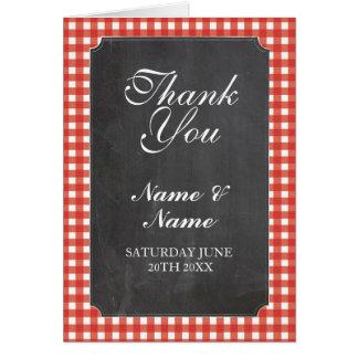 Gracias carda tiza roja nupcial del boda del tarjeta de felicitación