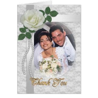 Gracias cardar con la foto del boda tarjeta pequeña