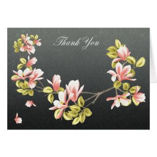 Gracias cardar con la magnolia rosada bonita tarjeta de felicitación